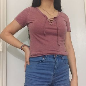 Mauve short sleeve lace up top